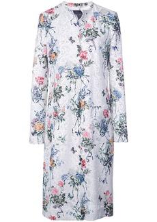 Monique Lhuillier floral print single-breasted coat - White