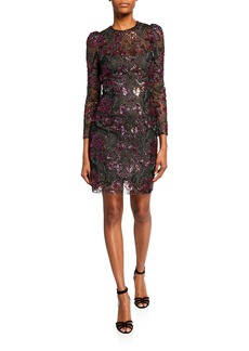 Monique Lhuillier Floral Sequin-Embroidered Long-Sleeve Dress