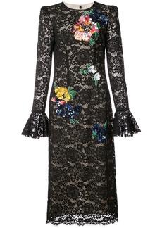Monique Lhuillier flower lace gown - Black