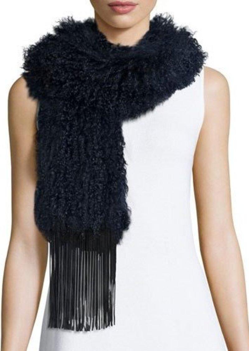 Monique Lhuillier Fur Scarf w/Leather Fringe