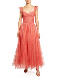 Monique Lhuillier Glitter Tulle Cocktail Dress