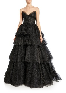 Monique Lhuillier Glittered Tulle Strapless Gown