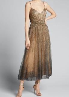 Monique Lhuillier Glittered Tulle Tea-Length Cocktail Dress