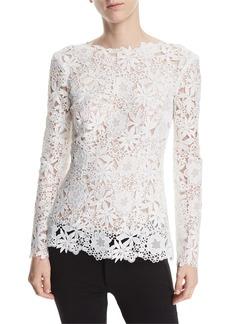 Monique Lhuillier High-Neck Long-Sleeve Floral-Guipure Lace Top
