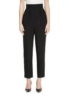 Monique Lhuillier High-Waist Cropped Wool Pants