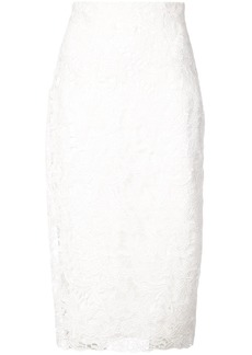 Monique Lhuillier high-waisted lace detail skirt - White