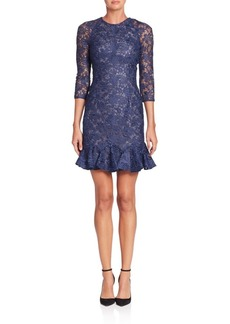 Monique Lhuillier Illusion Embellished Sheath Dress