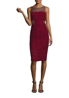 Monique Lhuillier Illusion Lace Sheath Dress
