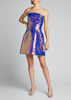 Monique Lhuillier Iridescent Sequined Fit-&-Flare Party Dress