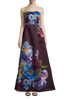 Monique Lhuillier Iris Straight-Across Floral-Print Gown