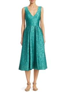 Monique Lhuillier Jacquard V-Neck Midi Dress