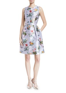 Monique Lhuillier Jewel-Neck Sleeveless Botanical-Print Fit-and-Flare Structured Dress