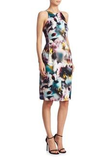 Monique Lhuillier Keyhole Back Floral-Print Dress