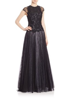 Monique Lhuillier Lace Bodice Full Gown