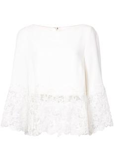 Monique Lhuillier lace detail 3/4 sleeve shirt - White