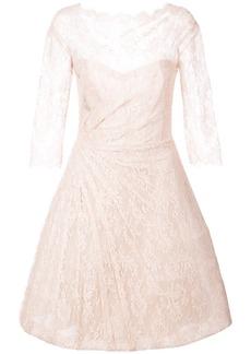Monique Lhuillier lace detail flared dress - Nude & Neutrals