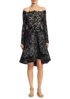 Monique Lhuillier Lace Fit-&-Flare Dress