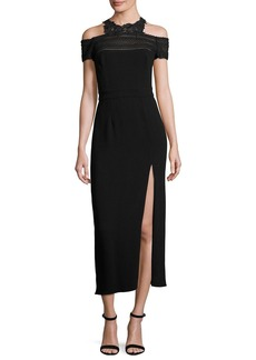 Monique Lhuillier Lace-Trim Cold-Shoulder Midi Dress