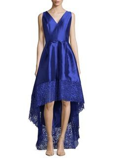 Monique Lhuillier Lace-Trimmed Sleeveless Dress