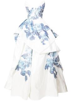 Monique Lhuillier layered floral print evening dress - White