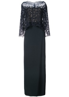 Monique Lhuillier layered lace detail fitted dress - Blue