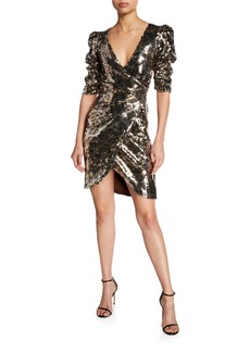 Monique Lhuillier Leopard-Print Sequined Ruched Half-Sleeve Cocktail Dress