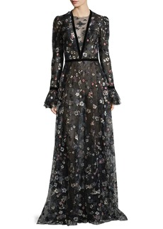Monique Lhuillier Long-Sleeve Floral-Embroidered Mesh Gown