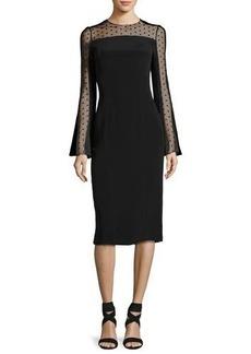 Monique Lhuillier Long-Sleeve Point d'Esprit Cocktail Dress