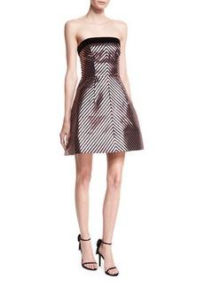 Monique Lhuillier Lurex® Chevron Jacquard Strapless Cocktail  Minidress