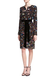 Monique Lhuillier Metallic Embroidered Long-Sleeve Belted Dress