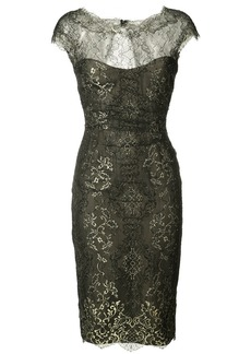 Monique Lhuillier metallic lace dress - Black