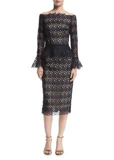 Monique Lhuillier Off-the-Shoulder Bell-Sleeve Guipure Lace Peplum Dress