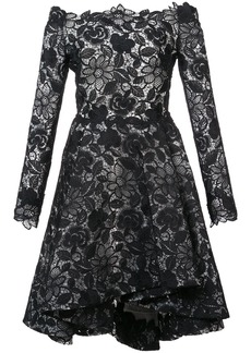 Monique Lhuillier off-the-shoulder lace dress - Black