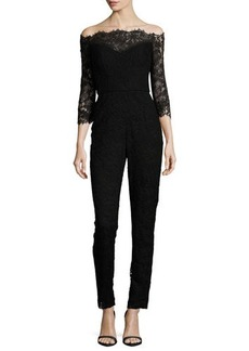 Monique Lhuillier Off-the-Shoulder Lace Jumpsuit