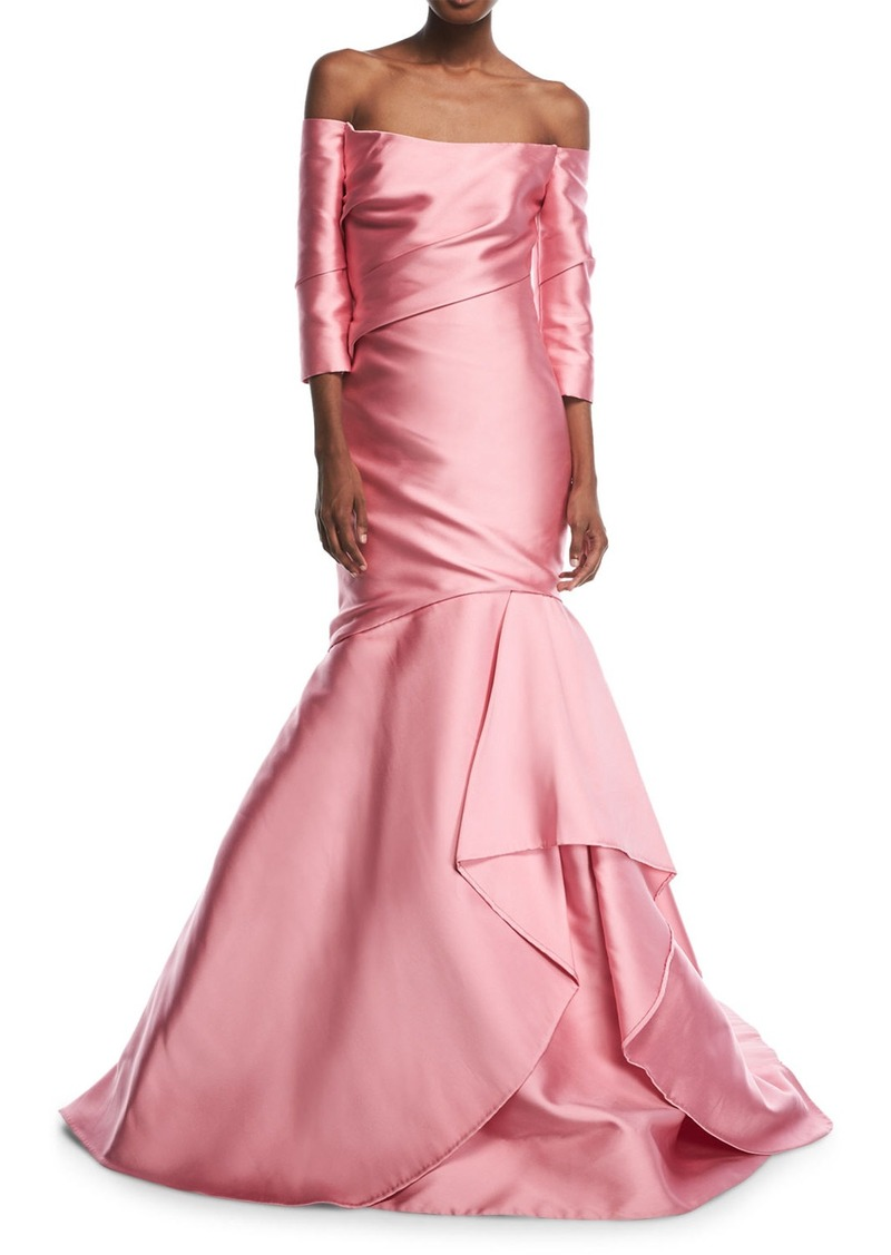 Monique Lhuillier Monique Lhuillier Off-the-Shoulder Tulip Gown ...