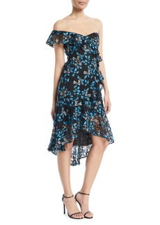 Monique Lhuillier One-Shoulder Floral-Guipure Lace Ruffle Dress