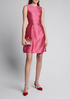 Monique Lhuillier Palm Jacquard Taffeta Fit-and-Flare Dress