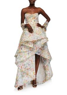 Monique Lhuillier Paradise-Print Organza Strapless Gown