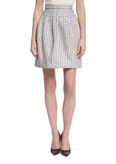 Monique Lhuillier Pleated Jacquard Miniskirt
