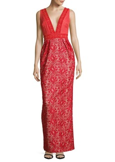 Monique Lhuillier Plunging Embroidered Gown