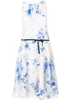 Monique Lhuillier printed belt dress - White
