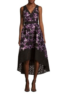 Monique Lhuillier Printed Hi-Lo Dress