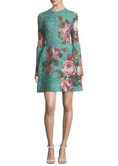Monique Lhuillier Rose-Print Guipure Lace Fit & Flare Cocktail Dress