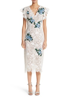 Monique Lhuillier Ruffle & Appliqué Lace Sheath Dress
