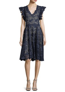 Monique Lhuillier Ruffle-Sleeve Lace Cocktail Dress
