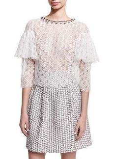 Monique Lhuillier Ruffle-Sleeve Lace Top