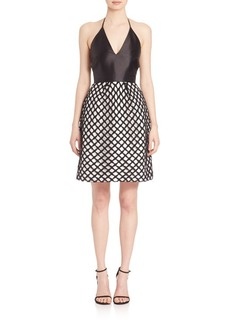 Monique Lhuillier Satin Halter Lace Novelty Dress