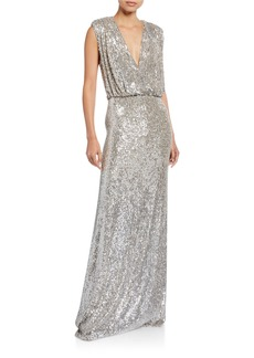 Monique Lhuillier Sequined Deep-V Column Gown