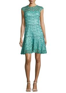 Monique Lhuillier Sequined Guipure Lace Cocktail Dress