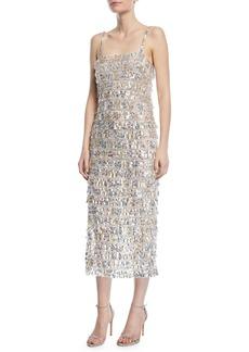 Monique Lhuillier Sequined Tier-Fringe Midi Cocktail Dress